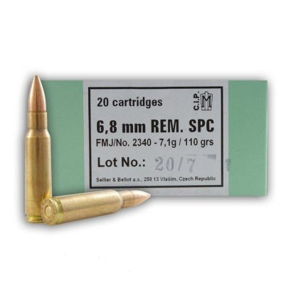 6.8 Remington SPC 110 gr FMJ 20 Round Box-Sellier & Bellot