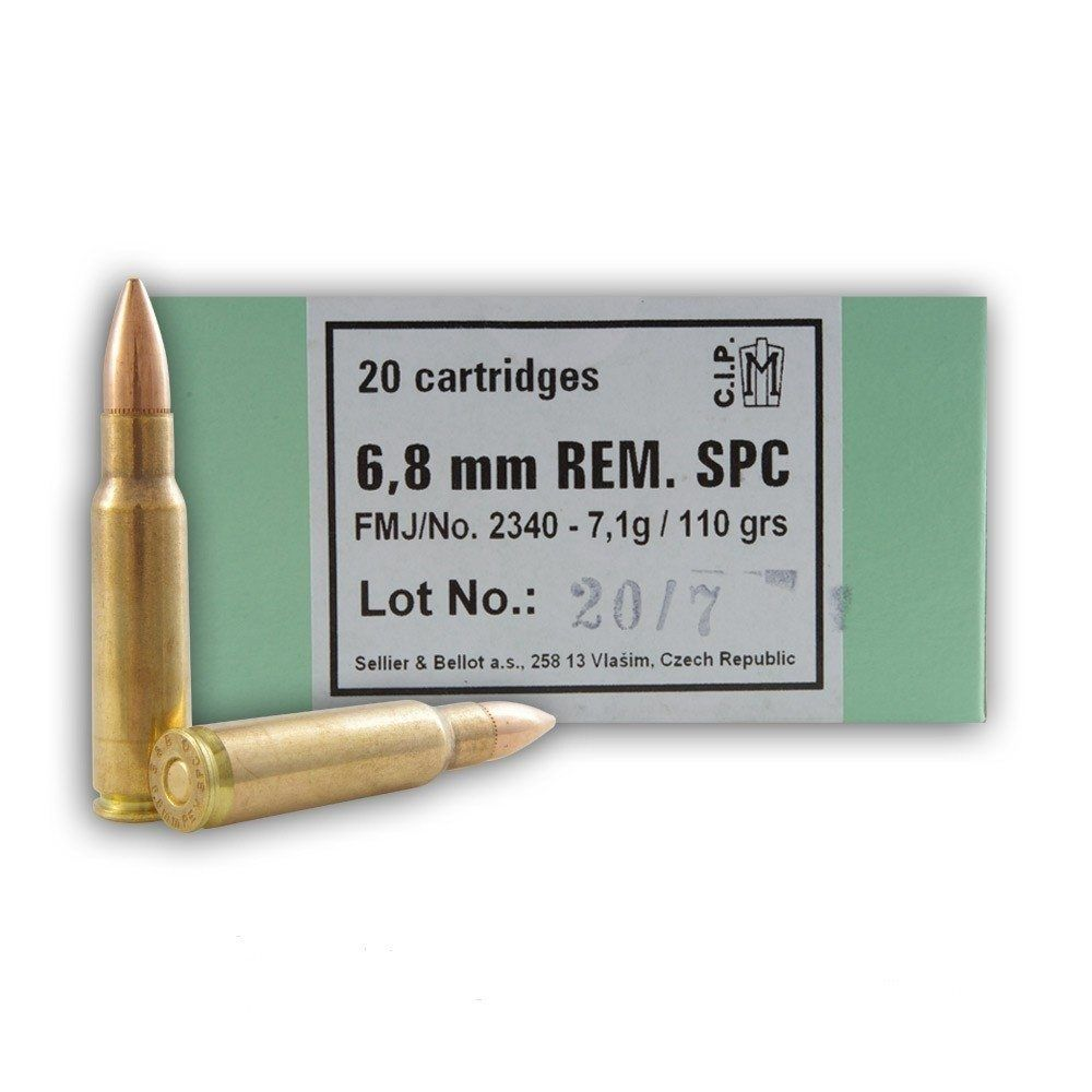 1000 Round Case 6.8 Remington SPC 110 gr FMJ-Sellier & Bellot