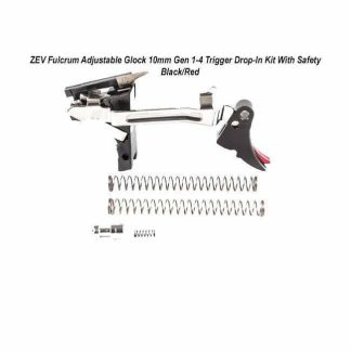 ZEV Fulcrum Adjustable Glock 10mm Gen 1-4 Trigger Drop-In Kit With Safety – (Blk/Red), FUL-ADJ-DRP-10SF-B-R, 811745029481, in Stock, For Sale