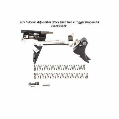 ZEV Fulcrum Adjustable Glock 9mm Gen 4 Trigger Drop-In Kit – (Blk/Blk), FUL-ADJ-DRP-4G9-B-B, 811745029573, in Stock, For Sale