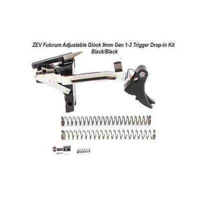 ZEV Fulcrum Adjustable Glock 9mm Gen 1-3 Trigger Drop-In Kit – (Blk/Blk), FUL-ADJ-DRP-9-B-B, 811745029597, in Stock, For Sale