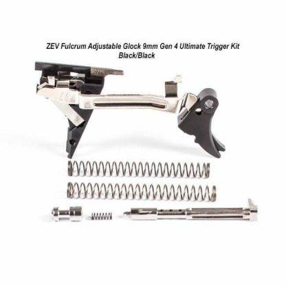 ZEV Fulcrum Adjustable Glock 9mm Gen 4 Ultimate Trigger Kit – (Blk/Blk), FUL-ADJ-ULT-4G9-B-B, 811745029733, in Stock, For Sale