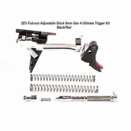 ZEV Fulcrum Adjustable Glock 9mm Gen 4 Ultimate Trigger Kit , Black/Red, FUL-ADJ-ULT-4G9-B-R-2, 811745029740, in Stock, For Sale