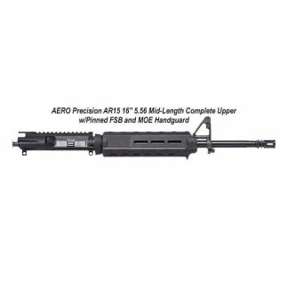 """AERO Precision AR15 16"""" 5.56 Mid-Length Complete Upper w/Pinned FSB and MOE Handguard, Black, APPG502503M65, in Stock, For Sale"""