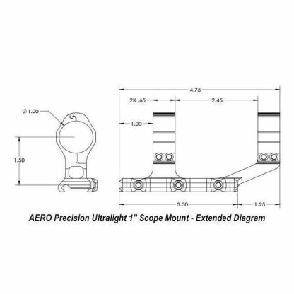 "AERO Precision Ultralight 1"" Scope Mount - Extended Diagram"