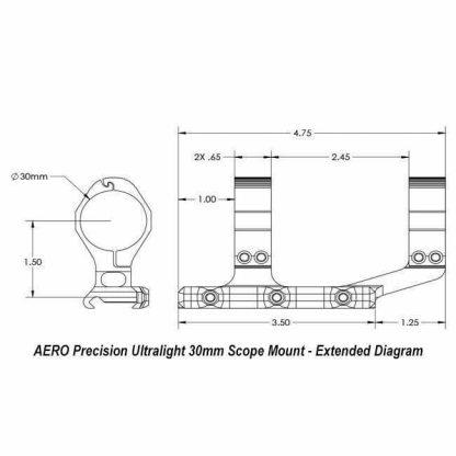 AERO Precision Ultralight 30mm Scope Mount - Extended Diagram