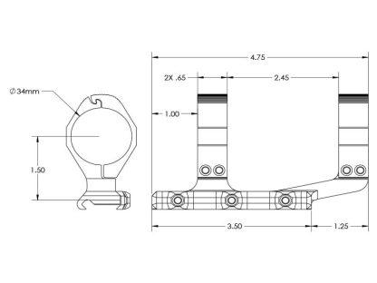 AERO Precision Ultralight 34mm Scope Mount - Extended, Diagram